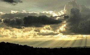 Great rays of waning sunlight